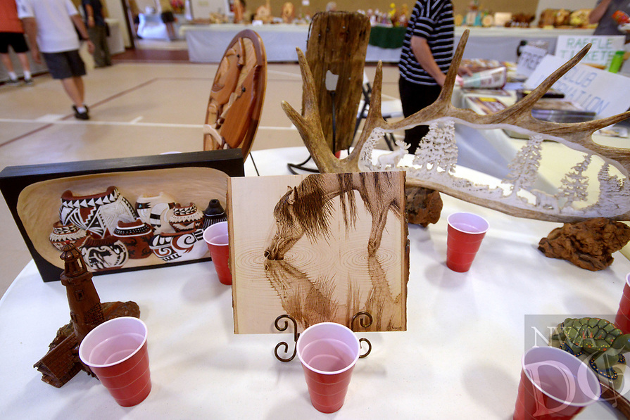 NWA Democrat-Gazette/BEN GOFF @NWABENGOFF<br /> Entries for the people's choice award sit on display Saturday, July 15, 2017, during the Bella Vista Woodcarvers Club's Artistry in Wood Show at Bella Vista Assembly of God church. Members of the club exhibited and sold their woodwork at the show, which also included door prizes, demonstrations and a people's choice award.