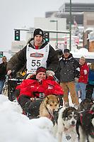 Josh Cadzow leaves the 2011 Iditarod ceremonial start line in downtown Anchorage, during the 2012 Iditarod..Jim R. Kohl/Iditarodphotos.com