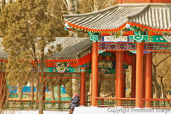 Tianjin water park traditional chinese corridor photo