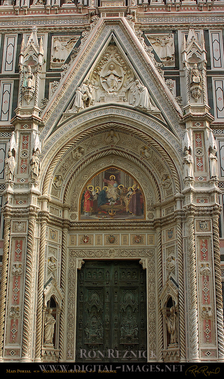 19th c Main Portal Detail Lunette Mosaic Barabino Tympanum Relief Virgin Mary with attendants and Agnus Dei Santa Maria del Fiore Florence