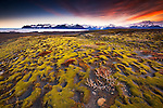 Sunrise over a glacial moraine, Skaftafell National Park, Iceland