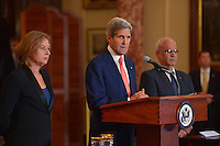 July 30, 2013  (Washington, D.C.)  U.S. Secretary of state John Kerry hosts Israeli Justice Minister Tzipi Livni and Palestinian Chief Negotiator Dr. Saeb Erekat for Middle East peace talks. (Photo by Don Baxter/Media Images International)
