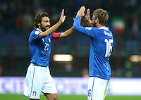 Fussball International  WM Qualifikation 2014   Italien - Daenemark                16.10.2012 Andrea Pirlo und Daniele De Rossi (v. li., Italien)