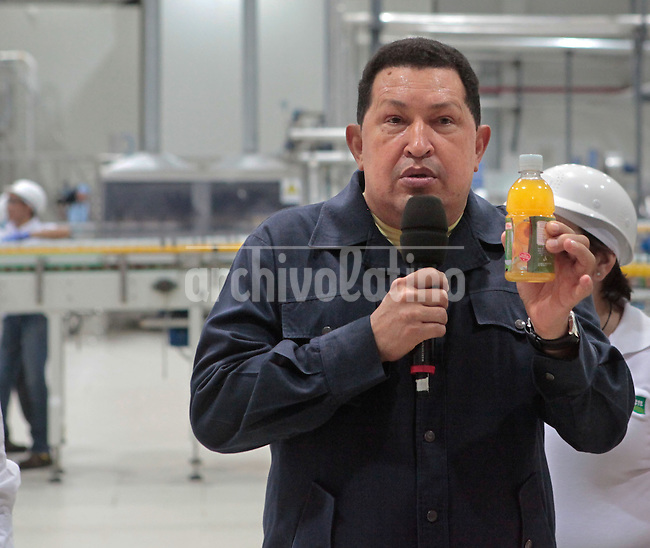 Venezuelan President Hugo Chavez inaugurates a juice bottler Sabilven in Coro, Facon state. Chavez will try to get a fourth term as President