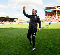 Lincoln City's assistant manager Nicky Cowley celebrates after securing promotion from Sky Bet League Two<br /> <br /> Photographer Chris Vaughan/CameraSport<br /> <br /> The EFL Sky Bet League Two - Lincoln City v Cheltenham Town - Saturday 13th April 2019 - Sincil Bank - Lincoln<br /> <br /> World Copyright &copy; 2019 CameraSport. All rights reserved. 43 Linden Ave. Countesthorpe. Leicester. England. LE8 5PG - Tel: +44 (0) 116 277 4147 - admin@camerasport.com - www.camerasport.com