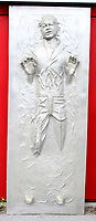 BNPS.co.uk (01202 558833)<br /> AdamPartridge/BNPS<br /> <br /> A large fibreglass plaque depicting Han Solo encased in carbonite<br /> <br /> A vast collection of 'weird and wonderful' memorabilia from a music venue that hosted early Beatles gigs has emerged for sale for close to £50,000.<br /> <br /> Lathom Hall in Liverpool was one of the best known clubs on the Merseybeat music scene in the late 1950s and early 1960s.<br /> <br /> Among their regular bands were the Beatles, although at that time they were known as the Silver Beets.<br /> <br /> Since those days the hall has adapted and is now an entertainment venue crammed full of pop culture memorabilia.