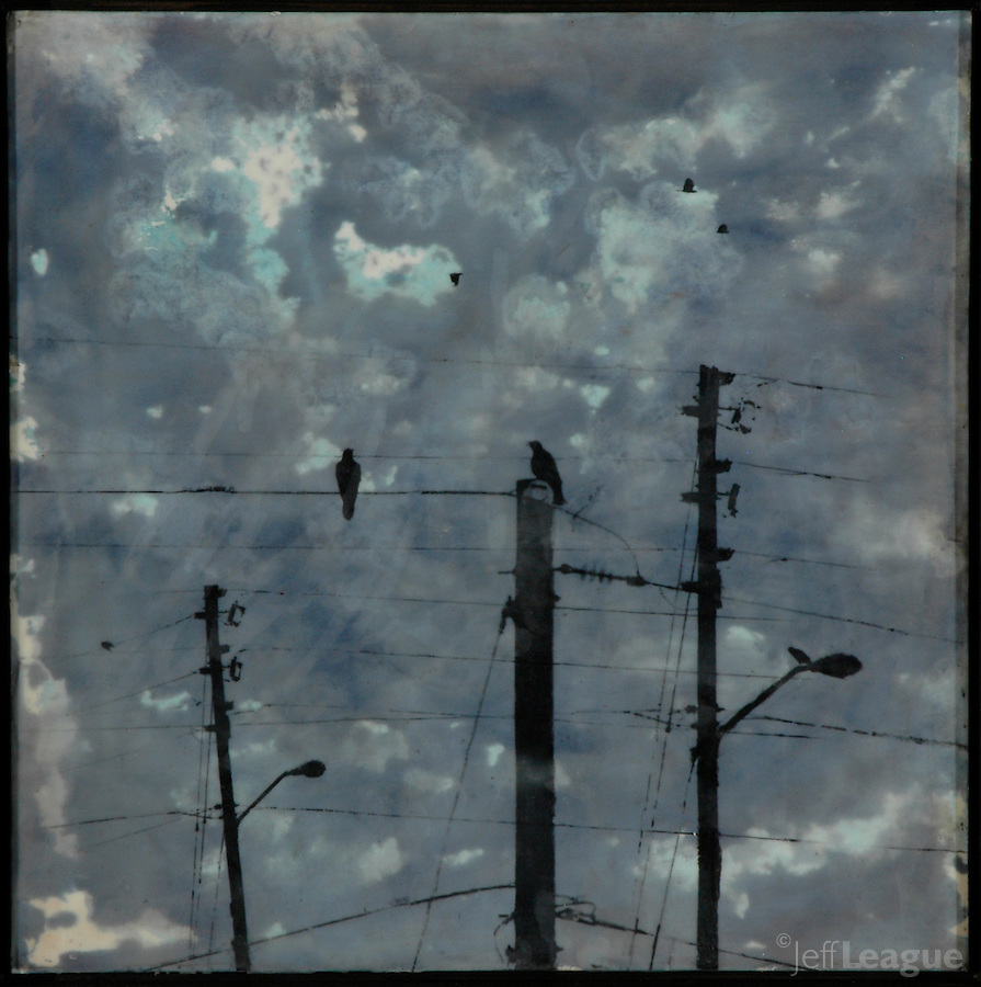 Communication in indigo sky, mixed media photo/encaustic painting by Florida artist Jeff League.