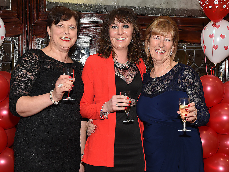 Mary Regan, Orla Murphy and Ann Tracey pictured at the Valentine Ball in the Grove House Dunleer. Photo:Colin Bell/pressphotos.ie