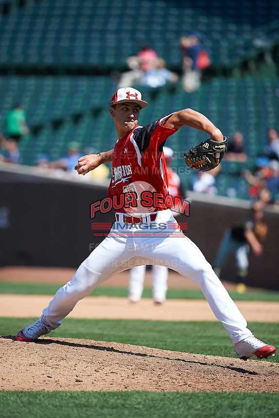 Pitcher A.J. Bogucki #31 of Boyertown High School in Gilbertsville, Pennsylvania participates in the Under Armour All-American Game powered by Baseball Factory at Wrigley Field on August 18, 2012 in Chicago, Illinois.  (Mike Janes/Four Seam Images)