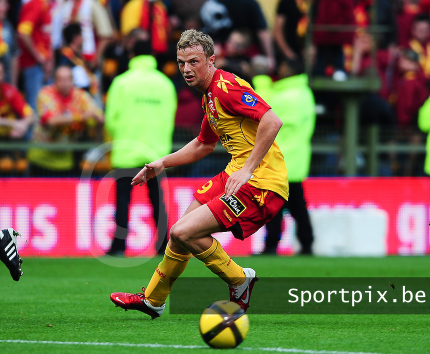 20110511 - LENS , FRANCE : RC Lens'  DAVID POLLET pictured during the soccer match between Racing Club de LENS and Girondins de BORDEAUX , on the thirty fifth matchday in the French Ligue 1 at the Stade Bollaert Delelis stadium , Lens . Saturday 11 May 2011 . PHOTO DAVID CATRY