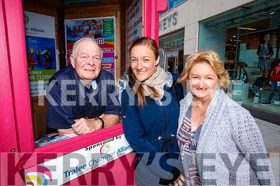 Eddie Baily with Renee Pates and Kerry Jarvis from Perth Australia at the Tralee tourism Kiosk on Wednesday