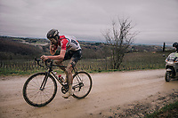 Tiesj Benoot (BEL/Lotto-Soudal) with a last refuel before catching the race leaders (just 20&quot; ahead of him)<br /> <br /> 12th Strade Bianche 2018<br /> Siena &gt; Siena: 184km (ITALY)