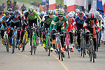 January 10, 2016 - Asheville, North Carolina, U.S. -  A fast start to the Elite Men's competition during the USA Cycling Cyclo-Cross National Championships at the historic Biltmore Estate, Asheville, North Carolina.