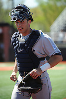 University of Connecticut catcher Connor David (25) during game against the Rutgers University Scarlet Knights at Bainton Field on May 3, 2013 in Piscataway, New Jersey. Connecticut defeated Rutgers 3-1.      . (Tomasso DeRosa/ Four Seam Images)