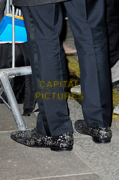 BENEDICT CUMBERBATCH's shoes .London Evening Standard Theatre Awards, The Savoy, Strand, London.England, UK, November 28th 2010..detail feet black sparkly silver patchy sequined sequin .CAP/CAS.©Bob Cass/Capital Pictures.