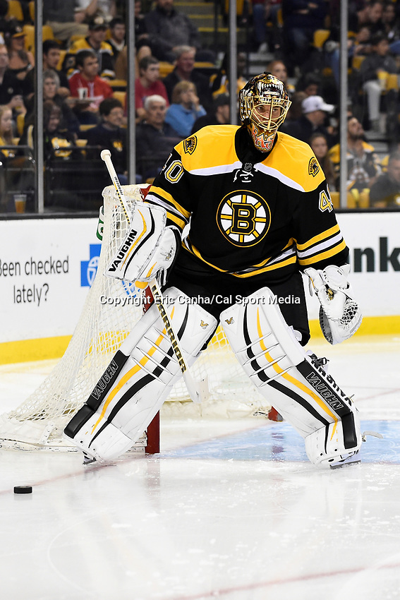Monday, September 28, 2015, Boston, MA - Boston Bruins goalie Tuukka Rask (40) works in front of the net during the NHL game between the Detroit Red Wings and the Boston Bruins held at TD Garden, in Boston, Massachusetts. Detroit defeats Boston 3-1 in regulation time. Eric Canha/CSM