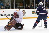 Benjamin Conz (Switzerland - 1), Kyle Palmieri (USA - 23) - Team USA defeated Team Switzerland 3-0 on Sunday, December 27, 2009, at the Credit Union Centre in Saskatoon, Saskatchewan, during the 2010 World Juniors tournament.