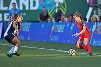 Portland, OR - Saturday July 22, 2017: Mallory Pugh, Meghan Klingenberg<br />  during a regular season National Women's Soccer League (NWSL) match between the Portland Thorns FC and the Washington Spirit at Providence Park.