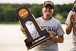 STILLWATER, OK - MAY 23: Arizona head coach Laura Ianello poses with the trophy after her team won the Division I Women's Golf Team Match Play Championship held at the Karsten Creek Golf Club on May 23, 2018 in Stillwater, Oklahoma. (Photo by Shane Bevel/NCAA Photos via Getty Images)
