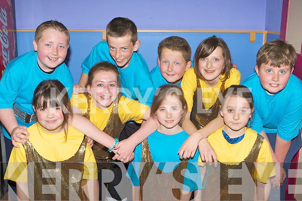 Performing at the KAMA 'That Entertainment' show in the Killorglin CYMS hall on Sunday was l-r: Orla Reynolds, Katie Horgan, Alanna Evans, Shania O'Sullivan. Back row: Fionn Corkery, Jack Smith, Paudie Horgan, Ava Wilkins and Conor Roche .