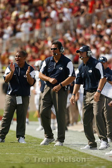 Trent Nelson  |  The Salt Lake Tribune.BYU coach Bronco Mendenhall, robert anae, in the first quarter, BYU vs. Florida State, college football Saturday, September 18, 2010 at Doak Campbell Stadium in Tallahassee, Florida.