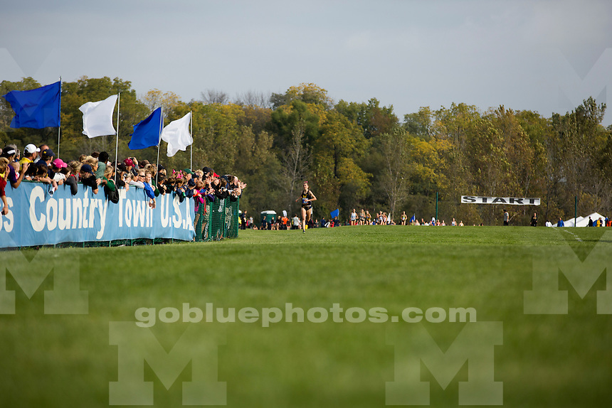 Michigan women's cross country runner Erin Finn wins the Indiana State Pre-National Cross Country Invitational on Saturday, Oct. 15, 2016, in Terre Haute, Indiana. (Photo by James Brosher)