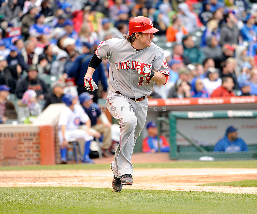 RYAN HANIGAN, of the Cincinnati Reds,  in action during the Reds game against the Chicago Cubs, on May 7, 2011 at Wrigley Field in Chicago, IL.  The Cubs beat the Reds 3-2.