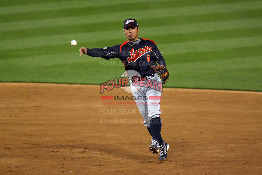 Akinori Iwamura of Japan during a game against Korea at the World Baseball Classic at Dodger Stadium on March 23, 2009 in Los Angeles, California. (Larry Goren/Four Seam Images)