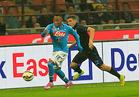 Camilo Zuniga  and  Mateo Kovacic during the Italian serie A   soccer match between SSC Napoli and Inter    at  the San Siro    stadium in Milan  Italy , Octobrr 19 , 2014