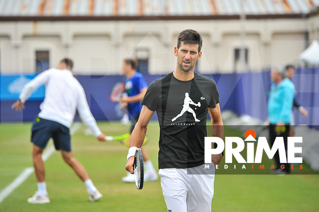 Novak Djokovic In action on the practice courts during the Aegon International Eastbourne tennis tournament at Devonshire Park, Eastbourne, England on 24 June 2017. Photo by Edward Thomas/PRiME Media Images.