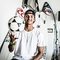 Snapper Rocks, Coolangatta, Queensland Australia. (Sunday March 16, 2014) –  Winner of the Quiksilver Pro Gold Coast Gabriel Medina (BRA) at his rental accommodation at Coolangatta. Photo: joliphotos.com