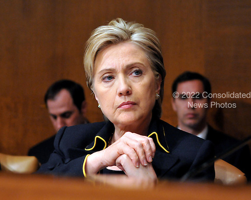 Washington, DC - April 8, 2008 -- United States Senator Hillary Rodham Clinton (Democrat of New York) listens as General David Petraeus (not pictured) and Ambassador Ryan Crocker (not pictured) testify before the United States Senate Armed Services Committee on the situation and progress in Iraq in Washington, D.C. on Tuesday, April 8, 2008..Credit: Ron Sachs / CNP