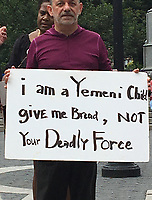 NEW YORK, NY - AUGUST 12:  A small rally in Union Square protesting United States involvement  in Yemen in New York, New York on August 12, 2017.  Photo Credit: Rainmaker Photo/MediaPunch
