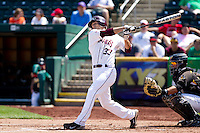 Spiker Helms (33) of the Missouri State Bears swings hard during an at bat during a game against the Wichita State Shockers on April 9, 2011 at Hammons Field in Springfield, Missouri.  Photo By David Welker/Four Seam Images