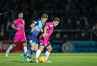 Dominic Gape of Wycombe Wanderers battles Lewis Hawkins of Hartlepool United during the Sky Bet League 2 match between Wycombe Wanderers and Hartlepool United at Adams Park, High Wycombe, England on 26 November 2016. Photo by Andy Rowland / PRiME Media Images.