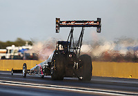 Oct 14, 2016; Ennis, TX, USA; NHRA top fuel driver Larry Dixon during qualifying for the Fall Nationals at Texas Motorplex. Mandatory Credit: Mark J. Rebilas-USA TODAY Sports