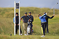 Sandy Scott (GB&I) on the 5th tee during the Foursomes at the Walker Cup, Royal Liverpool Golf CLub, Hoylake, Cheshire, England. 07/09/2019.<br /> Picture Thos Caffrey / Golffile.ie<br /> <br /> All photo usage must carry mandatory copyright credit (© Golffile | Thos Caffrey)