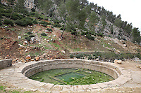 Roman bath, 10m in diameter, filled with thermal spring water said to have curative properties, at El Hamma outside Moulay Idriss, Meknes-Tafilalet, Morocco. Picture by Manuel Cohen