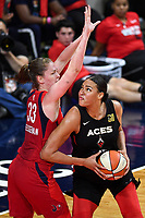 Washington, DC - Sept 17, 2019: Washington Mystics center Emma Meesseman (33) plays defense against Las Vegas Aces center Liz Cambage (8) during WNBA Playoff semi final game between Las Vegas Aces and Washington Mystics at the Entertainment & Sports Arena in Washington, DC. The Mystics hold on to beat the Aces 97-95. (Photo by Phil Peters/Media Images International)