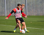 Billy Sharp of Sheffield Utd and Mark Duffy of Sheffield Utd during the Sheffield Utd training session at the Shirecliffe Training Complex , Sheffield. Picture date: September 29th, 2016. Pic Simon Bellis/Sportimage