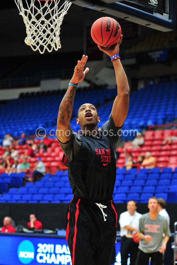 Mar 16, 2011; Tucson, AZ, USA; San Diego State Aztecs forward Malcolm Thomas (4) during practice the day before the second round of the 2011 NCAA men's basketball tournament at the McKale Center.