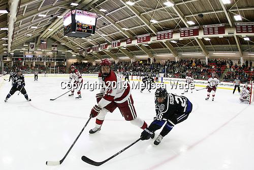 The Harvard University Crimson defeated the visiting Bentley University Falcons 5-1 on Friday, November 21, 2014, at Bright-Landry Hockey Center in Cambridge, Massachusetts.