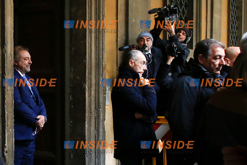 Michele Giarrusso, senator of Movement 5 Stars, during the protest of Democratic Party senators against him. Movement 5 Stars parliamentarians have always voted in favor of the trials, apart for this time<br /> Rome February 19th 2019. Senate immunity commission at Sant'Ivo alla Sapienza palace.  The commission voted to retain immunity from prosecution for the Minister of Internal Affairs Matteo Salvini. Last August 20th a ship, carrying 177 migrants (among them many minors) docked in the harbour of Catania but Minister Salvini took the decision to block migrants of Diciotti ship at sea. For that reason the magistracy accused the minister of kidnapping.<br /> Foto Samantha Zucchi Insidefoto