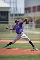 Colorado Rockies starting pitcher Erick Julio (50) during a Minor League Spring Training game against the Chicago Cubs at Sloan Park on March 27, 2018 in Mesa, Arizona. (Zachary Lucy/Four Seam Images)