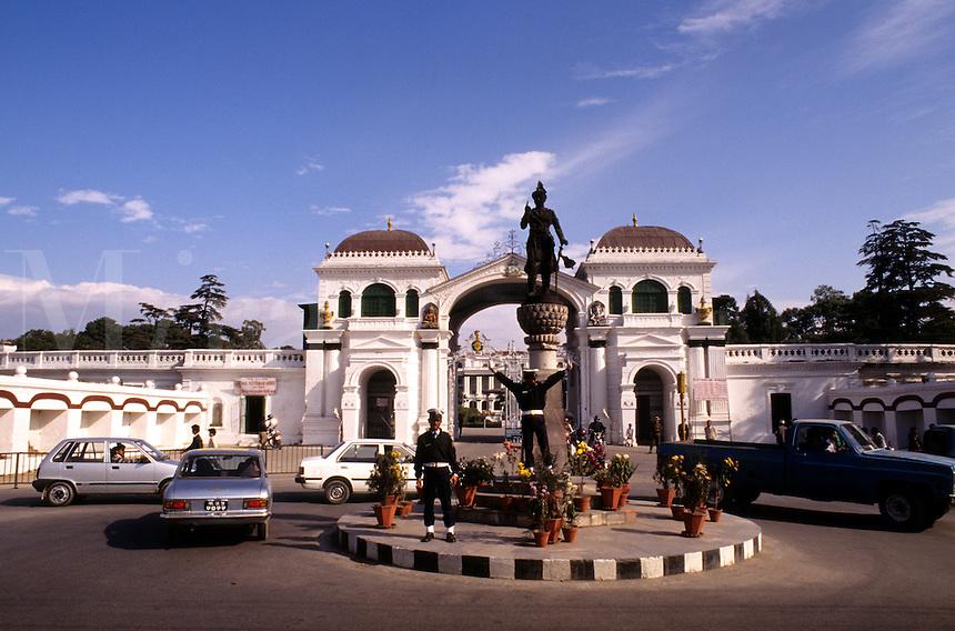 Traffic and Palace in Kathmandu Nepal Katmandu