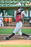 Ryan Dale (22) of the Idaho Falls Chukars at bat against the Ogden Raptors in Pioneer League action at Lindquist Field on August 27, 2015 in Ogden, Utah. Ogden defeated the Chukars 4-3.  (Stephen Smith/Four Seam Images)