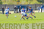 Bryan Sheehan for St Mary's deemed to have been helped to the ground by the challenges of Spa's Ryan O'Carroll & Anthony O'Sullivan in this Intermediated replay at The Con Keating Park Cahersiveen on Sunday, St Mary's 1-10 Spa 1-11.
