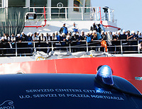 Migrants disembark from &quot; Dos Prudent&quot; as they arrive at the harbour in Naples, Italy, May 28, 2017. <br /> Immigrati sbarcano nel porto di Napoli dalla nave dos Prudent di Medici senza frontiere