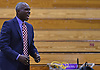 Bernard Tomlin, SUNY Old Westbury men's basketball head coach, calls out to his team during their 76-69 win over Mount Saint Mary College (Newburgh, NY) at Clark Athletic Center, located on SUNY Old Westbury's campus, on Thursday, Jan. 10, 2019.