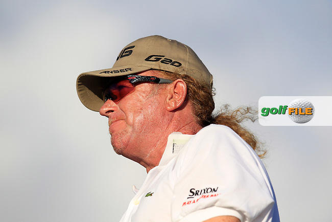 Miguel Angel Jimenez (ESP) tees off the 18th tee during Thursday's Round 1 of the Portugal Masters at the Oceanico Victoria Golf Course, Vilamoura, Portugal 10th October 2012 (Photo Eoin Clarke/www.golffile.ie)